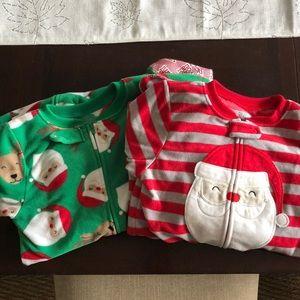 2 pair Christmas footie pajamas fleece 5T